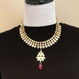 Jadau Kundan Gemstones Gold Plated Necklace Set
